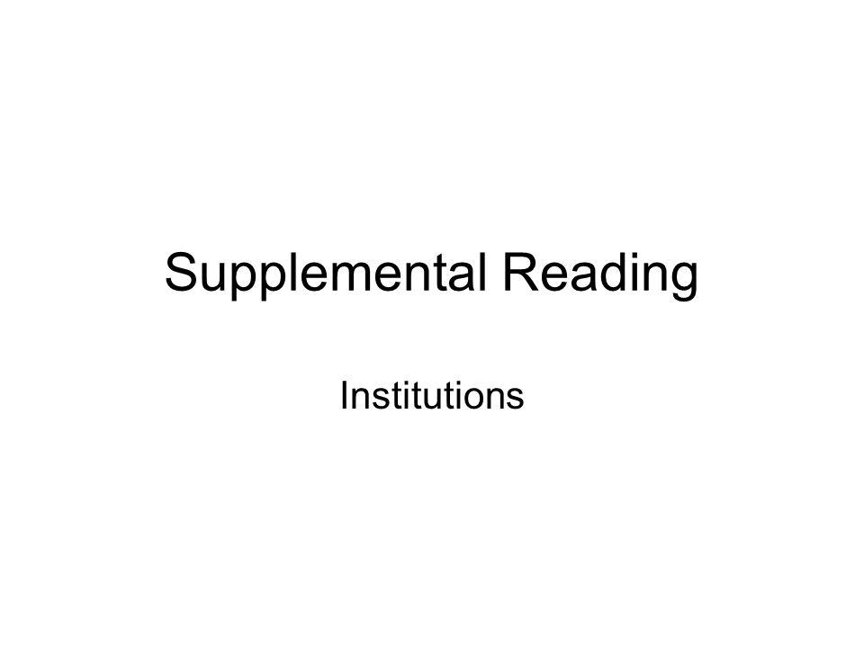 Supplemental Reading Institutions
