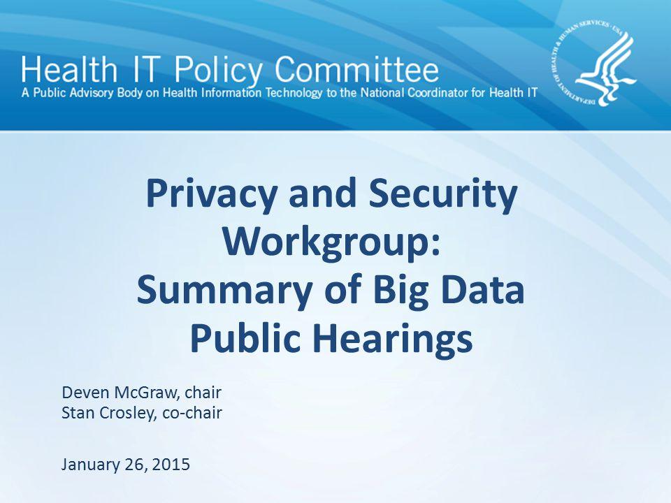 Agenda 2 PSWG Workplan Scope Key Themes Topics to Discuss De-identification Consent Backup Slides – Summary of Hearing Testimony