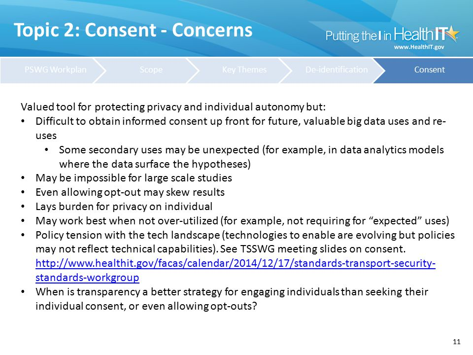 Topic 2: Consent - Concerns 11 Valued tool for protecting privacy and individual autonomy but: Difficult to obtain informed consent up front for futur