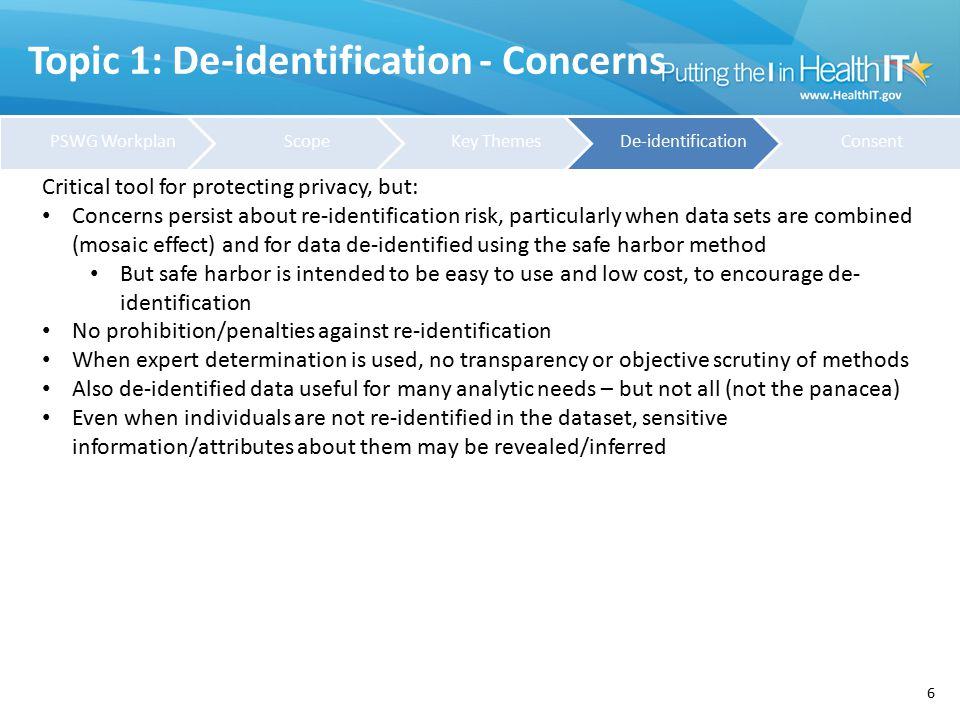 Topic 1: De-identification - Definitions 7 Potentially helpful definitions: HIPAA Definition of de-identified : § 164.514 Other requirements relating to uses and disclosures of protected health information.