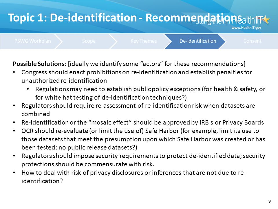 "Topic 1: De-identification - Recommendations 9 Possible Solutions: [ideally we identify some ""actors"" for these recommendations] Congress should enact"