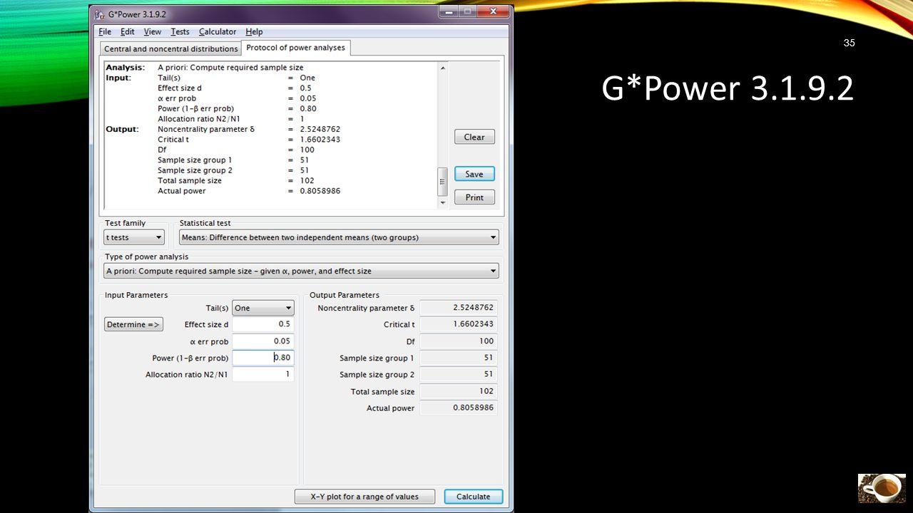 G*Power 3.1.9.2 35