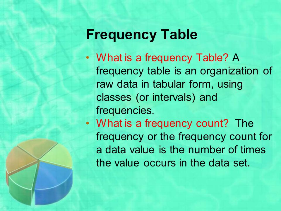 Frequency Table What is a frequency Table.