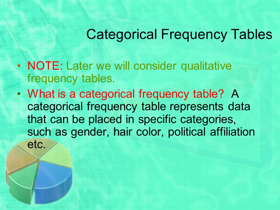 Categorical Frequency Tables NOTE: Later we will consider qualitative frequency tables.