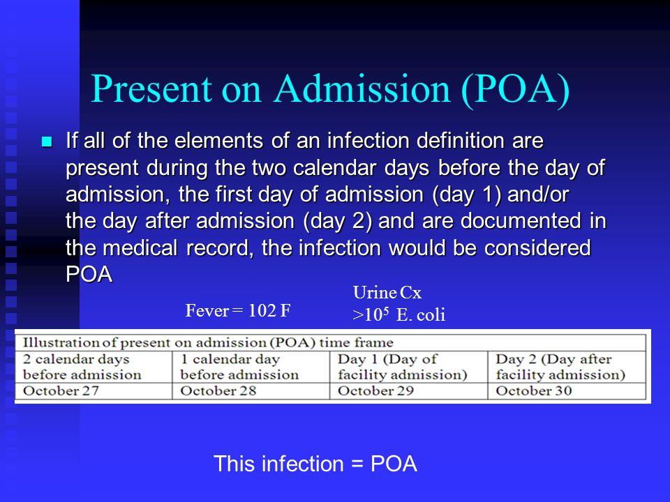 Present on Admission (POA) If all of the elements of an infection definition are present during the two calendar days before the day of admission, the