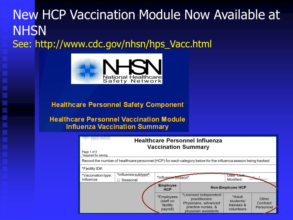 New HCP Vaccination Module Now Available at NHSN See: http://www.cdc.gov/nhsn/hps_Vacc.html