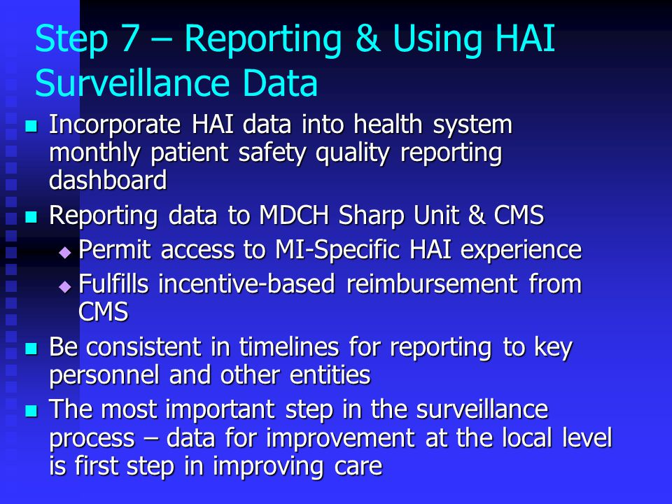 Incorporate HAI data into health system monthly patient safety quality reporting dashboard Incorporate HAI data into health system monthly patient saf