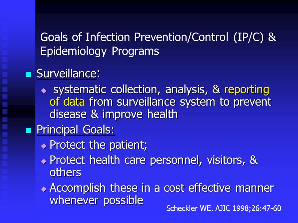 Goals of Infection Prevention/Control (IP/C) & Epidemiology Programs Surveillance : Surveillance :  systematic collection, analysis, & reporting of d
