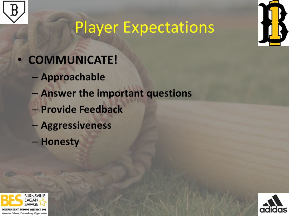 Player Expectations COMMUNICATE.