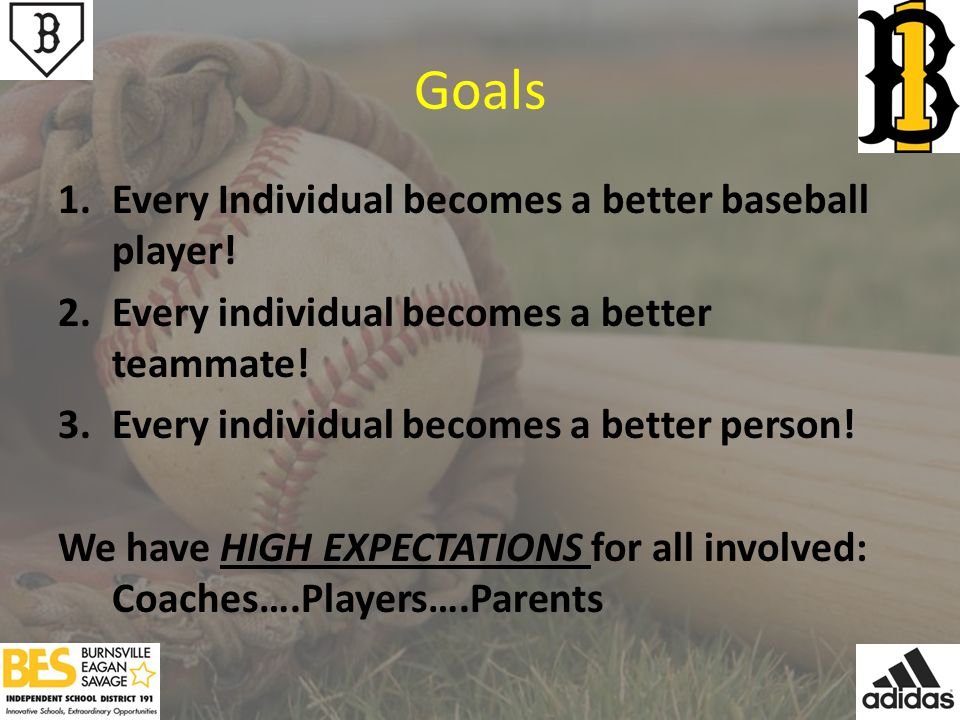 Goals 1.Every Individual becomes a better baseball player.