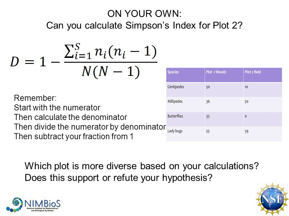 ON YOUR OWN: Can you calculate Simpson's Index for Plot 2.