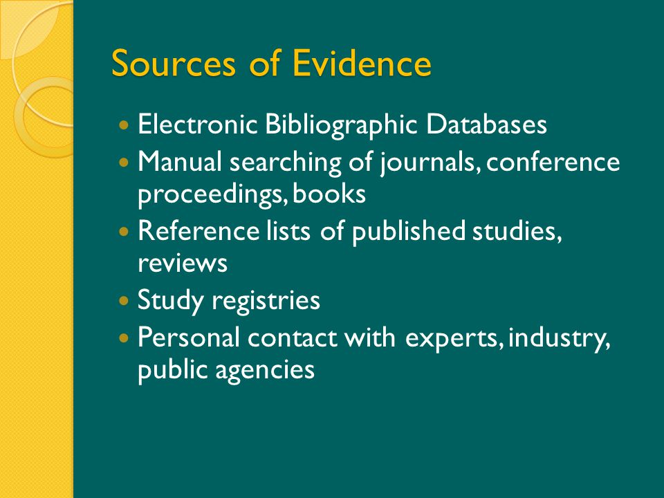 Sources of Evidence Electronic Bibliographic Databases Manual searching of journals, conference proceedings, books Reference lists of published studies, reviews Study registries Personal contact with experts, industry, public agencies with researchers