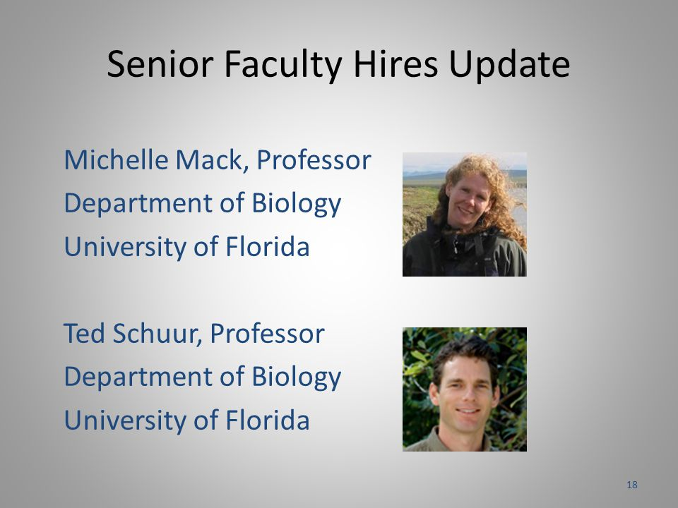 Senior Faculty Hires Update Michelle Mack, Professor Department of Biology University of Florida Ted Schuur, Professor Department of Biology University of Florida 18