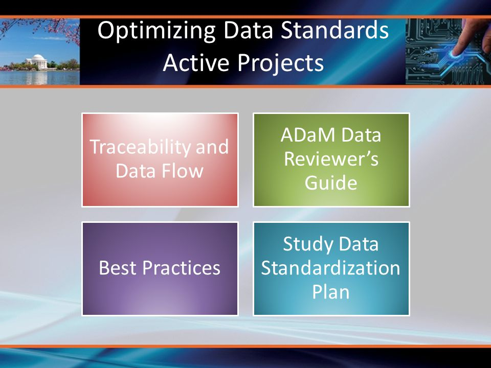 Optimizing Data Standards Active Projects Traceability and Data Flow ADaM Data Reviewer's Guide Best Practices Study Data Standardization Plan