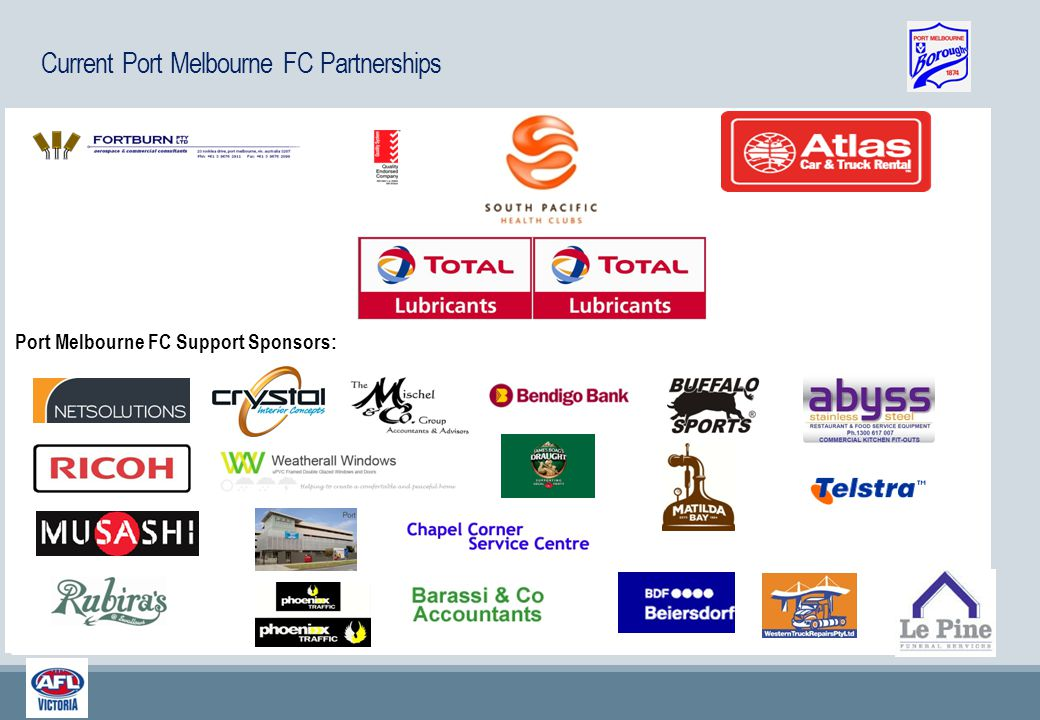 Port Melbourne FC Partners: PMFC Platinum Sponsors: Port Melbourne FC Support Sponsors: Current Port Melbourne FC Partnerships