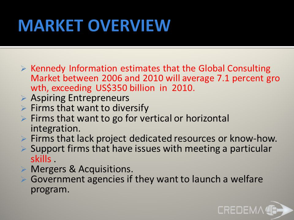  Kennedy Information estimates that the Global Consulting Market between 2006 and 2010 will average 7.1 percent gro wth, exceeding US$350 billion in 2010.