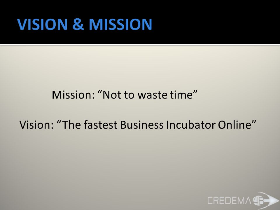 Mission: Not to waste time Vision: The fastest Business Incubator Online