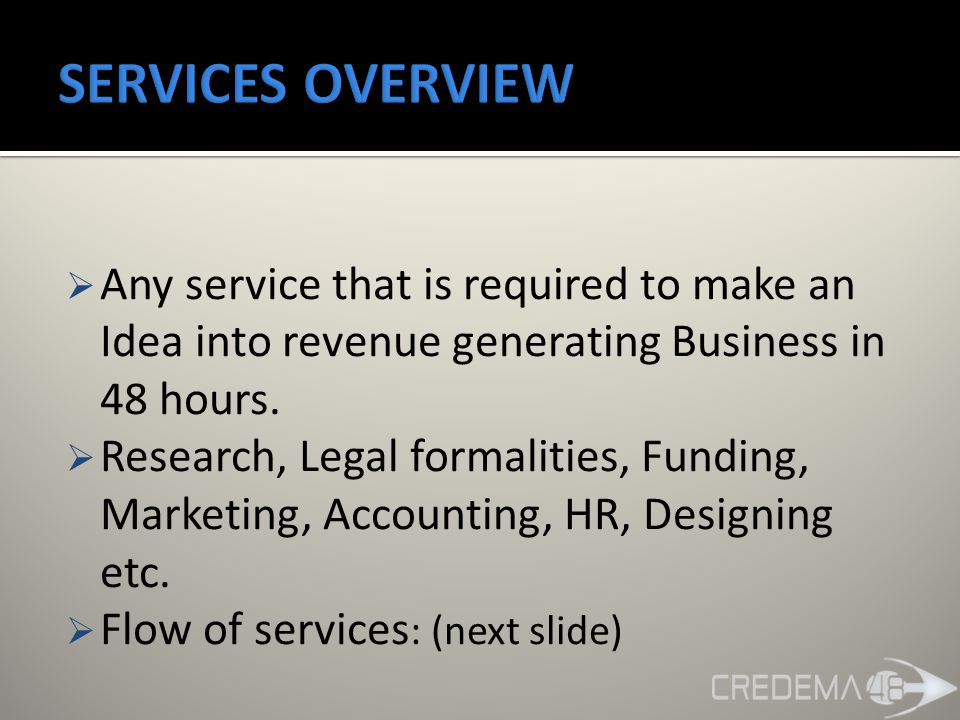  Any service that is required to make an Idea into revenue generating Business in 48 hours.