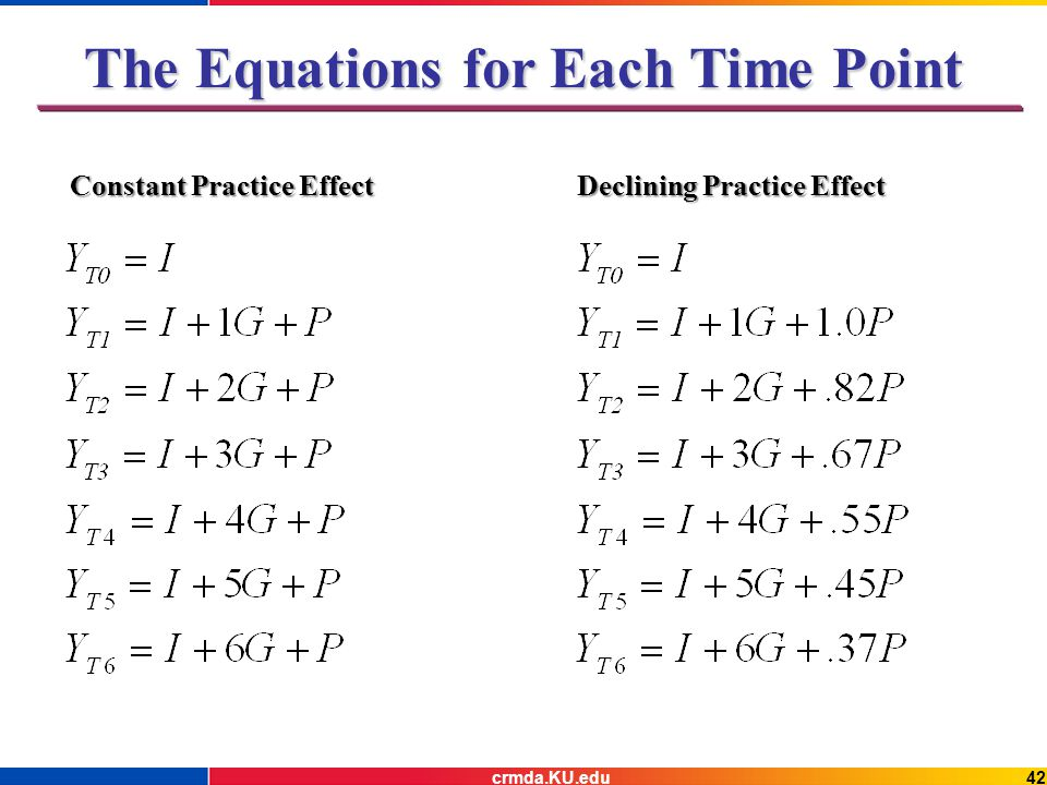 The Equations for Each Time Point Constant Practice Effect Declining Practice Effect 42crmda.KU.edu