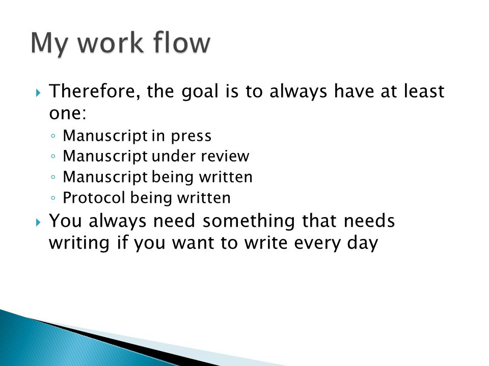  Therefore, the goal is to always have at least one: ◦ Manuscript in press ◦ Manuscript under review ◦ Manuscript being written ◦ Protocol being written  You always need something that needs writing if you want to write every day
