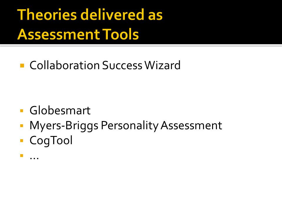  Collaboration Success Wizard  Globesmart  Myers-Briggs Personality Assessment  CogTool  …