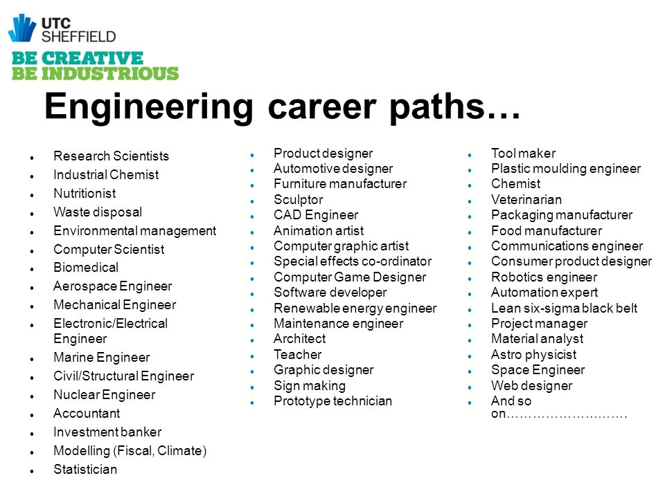 Engineering career paths… Research Scientists Industrial Chemist Nutritionist Waste disposal Environmental management Computer Scientist Biomedical Ae