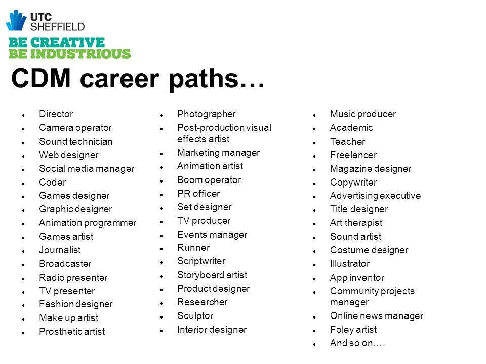 CDM career paths… Director Camera operator Sound technician Web designer Social media manager Coder Games designer Graphic designer Animation programm
