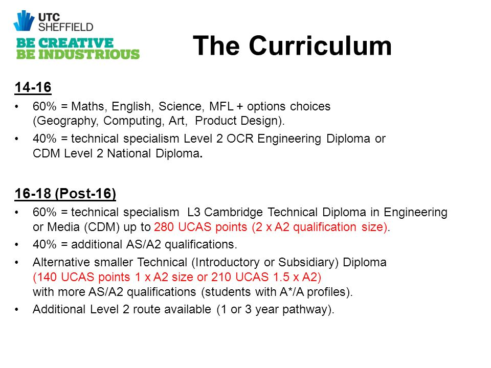 The Curriculum 14-16 60% = Maths, English, Science, MFL + options choices (Geography, Computing, Art, Product Design). 40% = technical specialism Leve