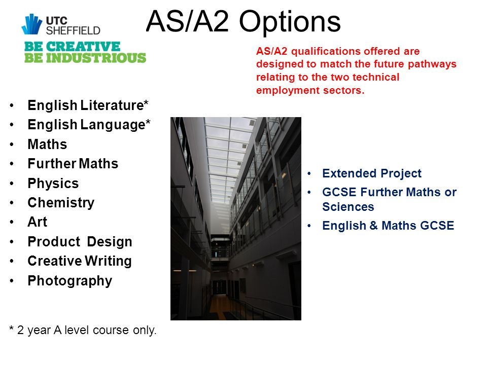 AS/A2 Options English Literature* English Language* Maths Further Maths Physics Chemistry Art Product Design Creative Writing Photography * 2 year A level course only.