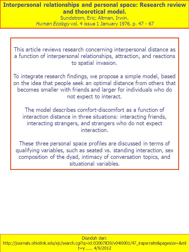 Diunduh dari: http://journals.ohiolink.edu/ejc/search.cgi?q=id:03007839/v04i0001/47_irapsrratm&pagesize=&ml t=y …… 4/9/2012 Interpersonal relationships and personal space: Research review and theoretical model.