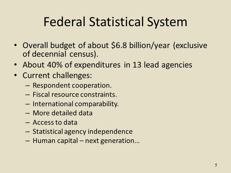 5 Federal Statistical System Overall budget of about $6.8 billion/year (exclusive of decennial census).