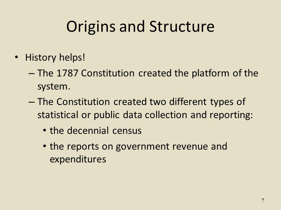 7 Origins and Structure History helps. – The 1787 Constitution created the platform of the system.
