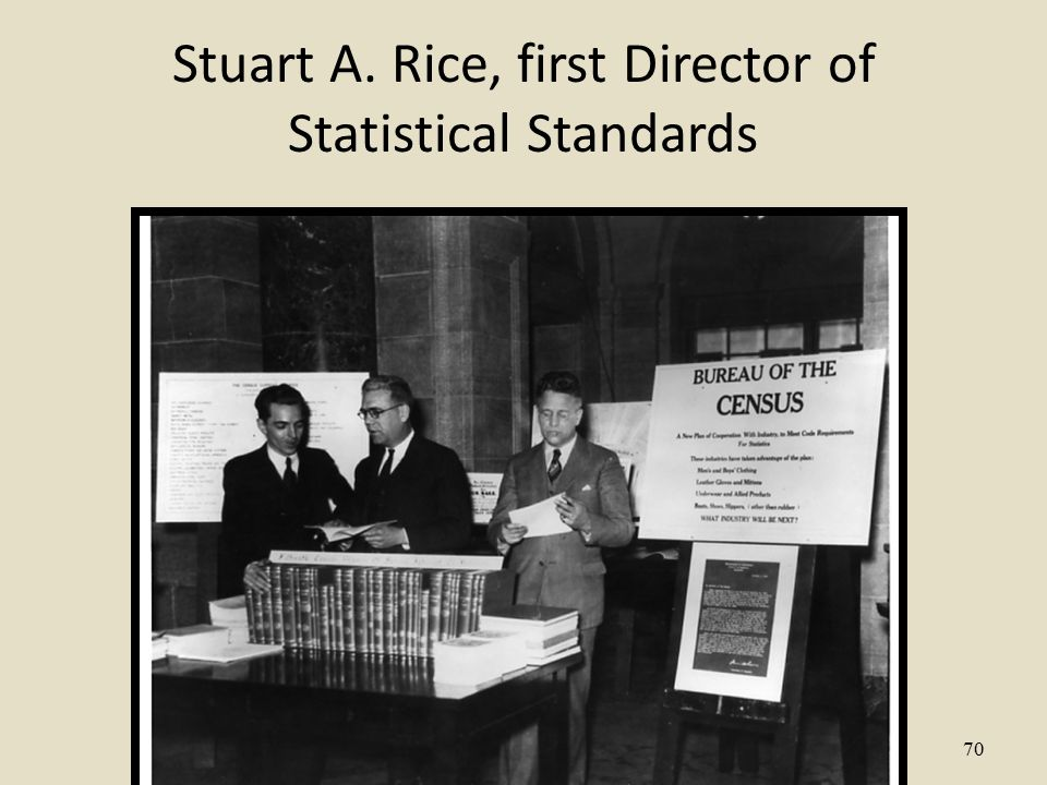70 Stuart A. Rice, first Director of Statistical Standards