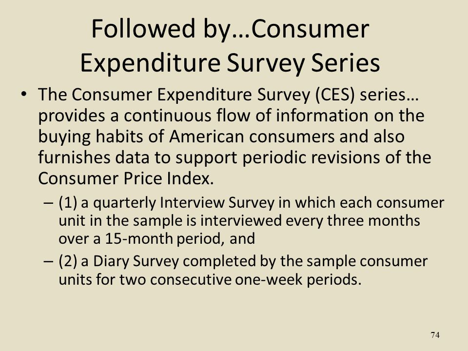 Followed by…Consumer Expenditure Survey Series The Consumer Expenditure Survey (CES) series… provides a continuous flow of information on the buying habits of American consumers and also furnishes data to support periodic revisions of the Consumer Price Index.