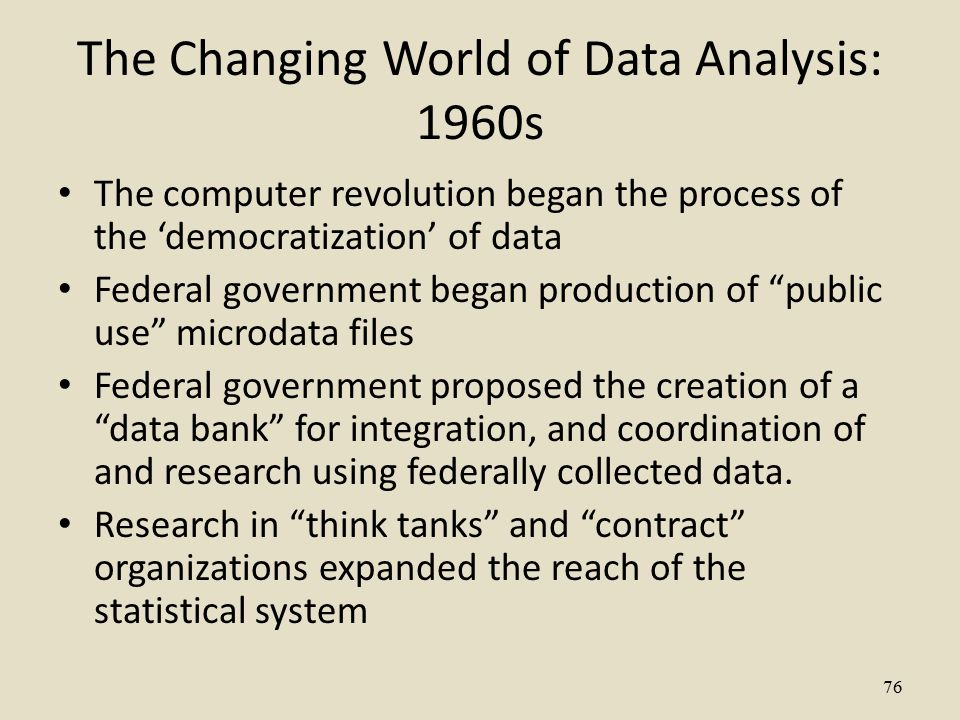 The Changing World of Data Analysis: 1960s The computer revolution began the process of the 'democratization' of data Federal government began production of public use microdata files Federal government proposed the creation of a data bank for integration, and coordination of and research using federally collected data.
