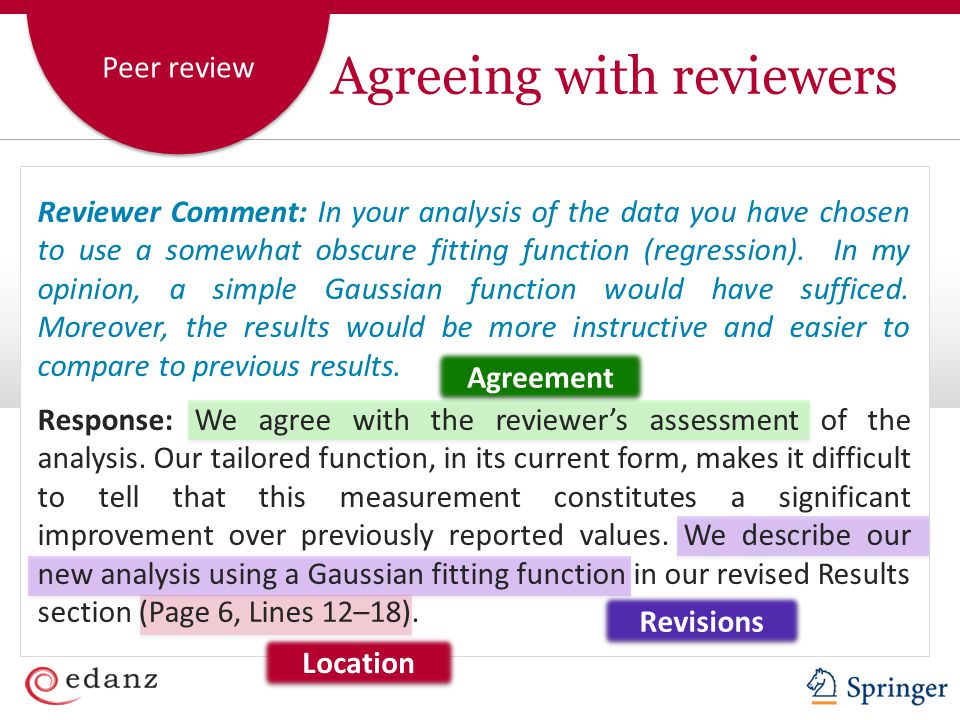 Peer review Agreeing with reviewers Agreement Revisions Location Reviewer Comment: In your analysis of the data you have chosen to use a somewhat obscure fitting function (regression).