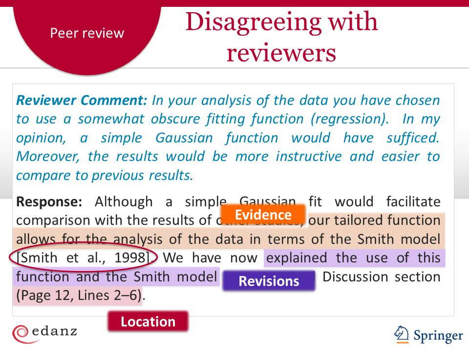 Peer review Reviewer Comment: In your analysis of the data you have chosen to use a somewhat obscure fitting function (regression).