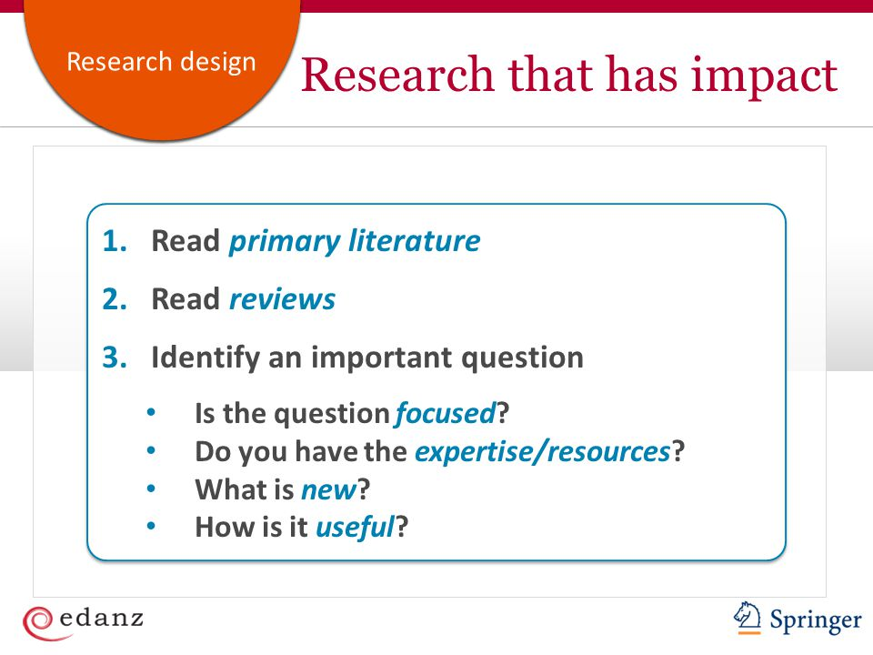 Customer ServiceAcademic Publishing Research design Research that has impact 1.Read primary literature 2.Read reviews 3.Identify an important question Is the question focused.