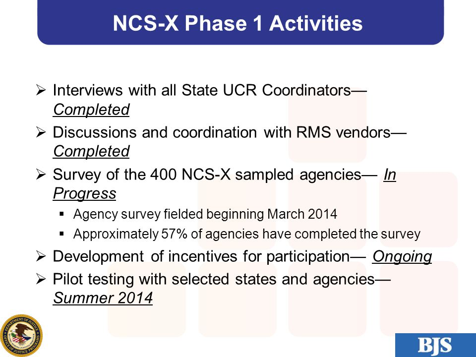 20 NCS-X Phase 1 Activities  Interviews with all State UCR Coordinators— Completed  Discussions and coordination with RMS vendors— Completed  Surve
