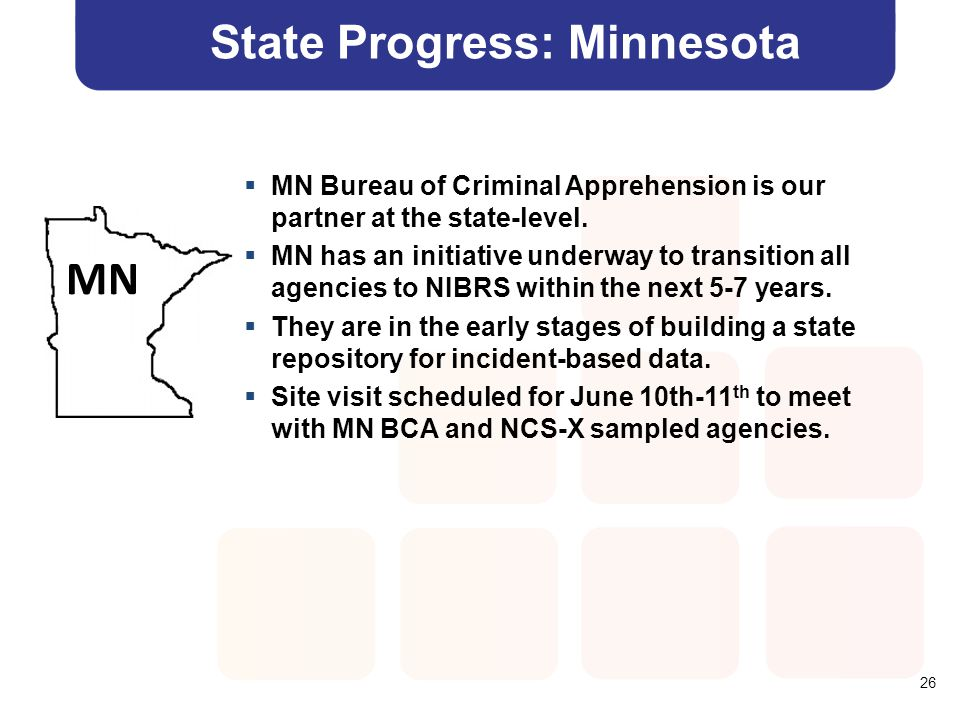 26 State Progress: Minnesota  MN Bureau of Criminal Apprehension is our partner at the state-level.  MN has an initiative underway to transition all