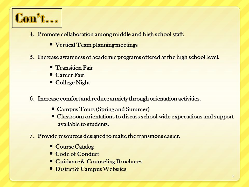 4. Promote collaboration among middle and high school staff.