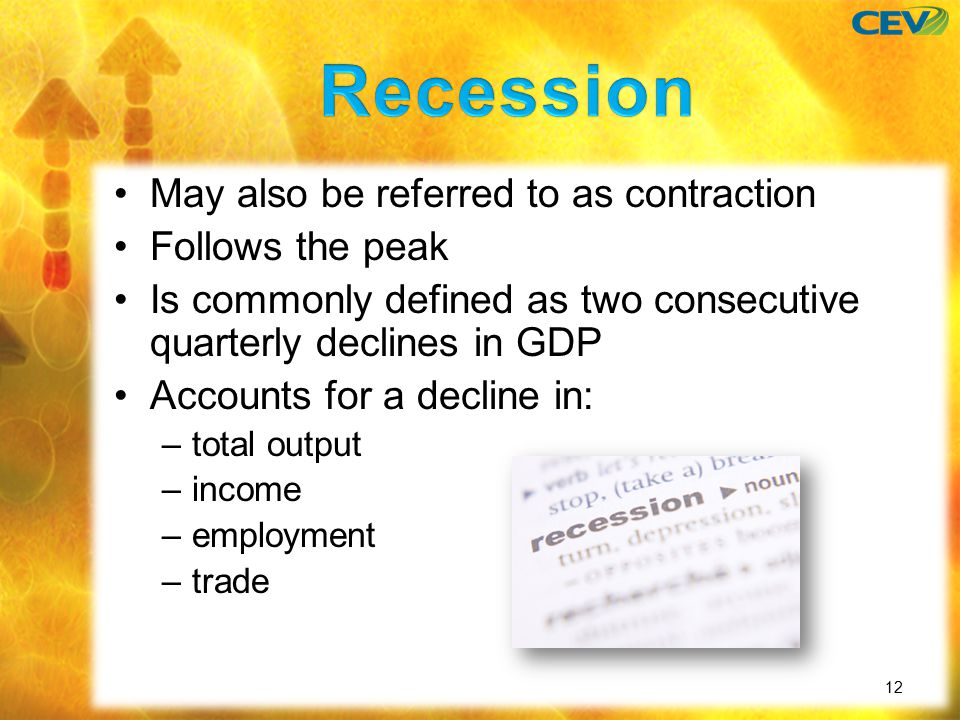 May also be referred to as contraction Follows the peak Is commonly defined as two consecutive quarterly declines in GDP Accounts for a decline in: –total output –income –employment –trade 12