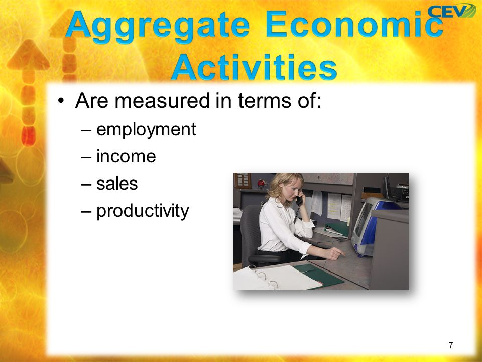 Are measured in terms of: –employment –income –sales –productivity 7