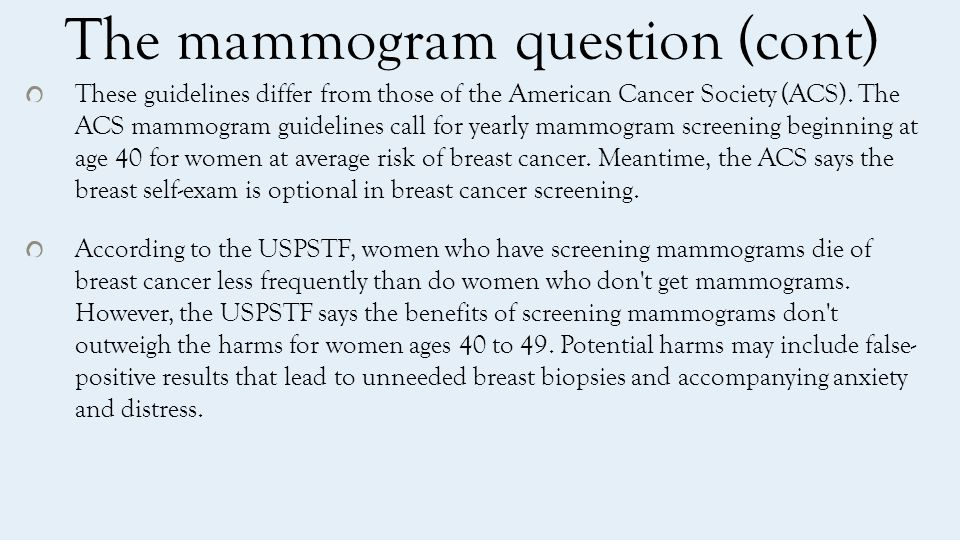 A statistical question The rate of incidence of new cancer in women aged 40 is about 1 percent Of existing tumors, about 80 percent show up in mammograms.