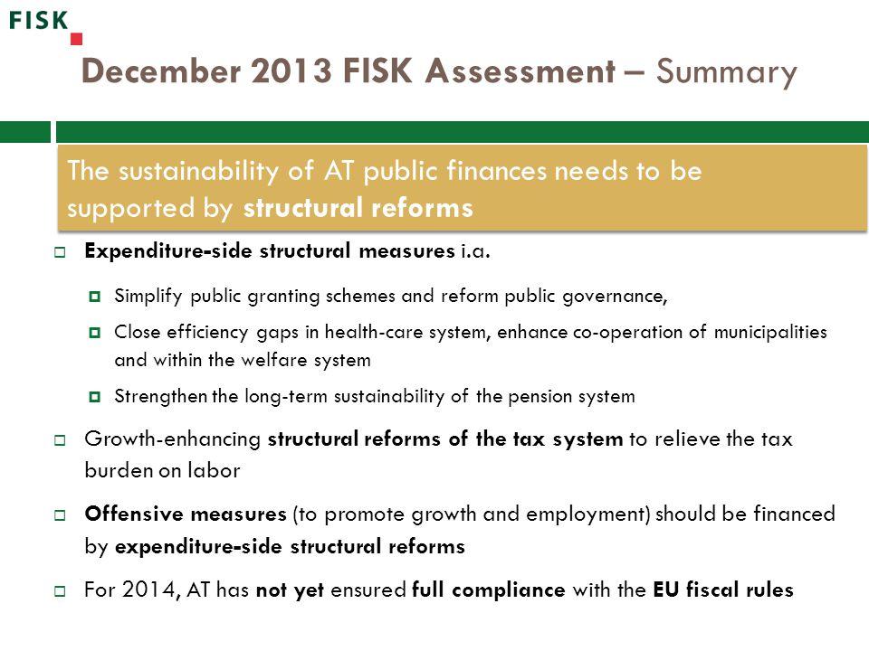 December 2013 FISK Assessment – Summary  Expenditure-side structural measures i.a.