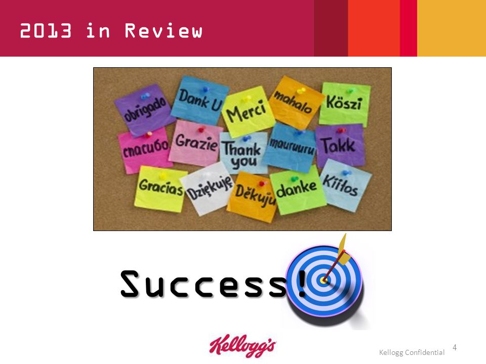 4 2013 in Review Success! Kellogg Confidential