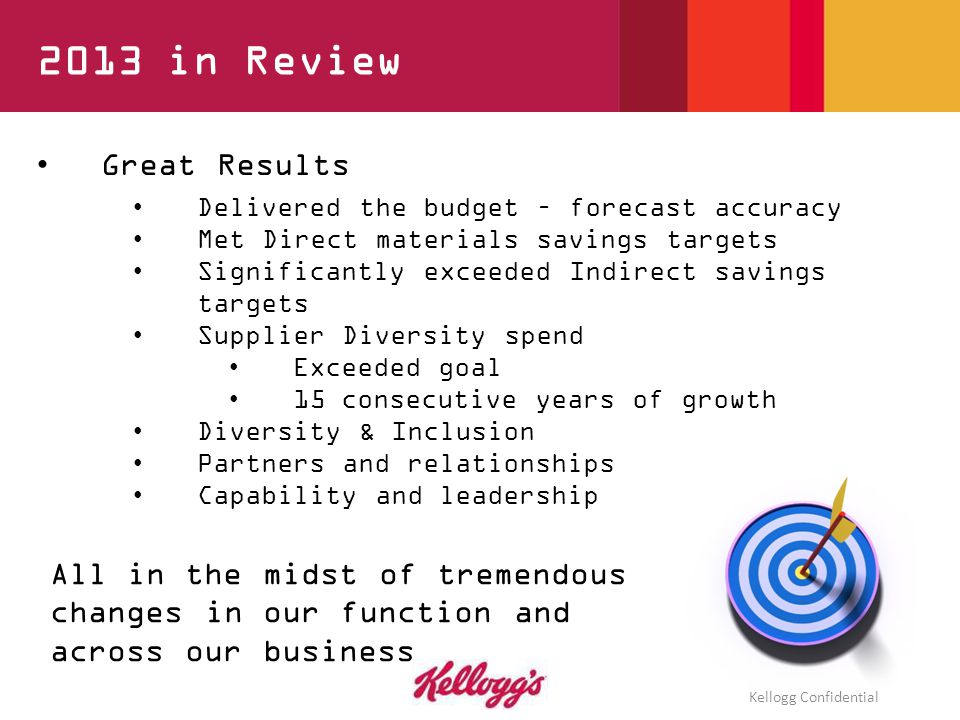 5 Great Results Delivered the budget – forecast accuracy Met Direct materials savings targets Significantly exceeded Indirect savings targets Supplier Diversity spend Exceeded goal 15 consecutive years of growth Diversity & Inclusion Partners and relationships Capability and leadership 2013 in Review All in the midst of tremendous changes in our function and across our business Kellogg Confidential
