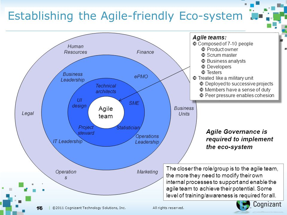  | ©2011 Cognizant Technology Solutions, Inc.All rights reserved. Establishing the Agile-friendly Eco-system 16 Agile team SME Project steward Techni