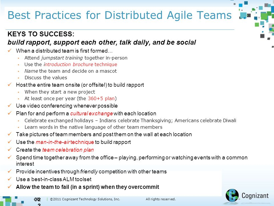  | ©2011 Cognizant Technology Solutions, Inc.All rights reserved. Best Practices for Distributed Agile Teams KEYS TO SUCCESS: build rapport, support