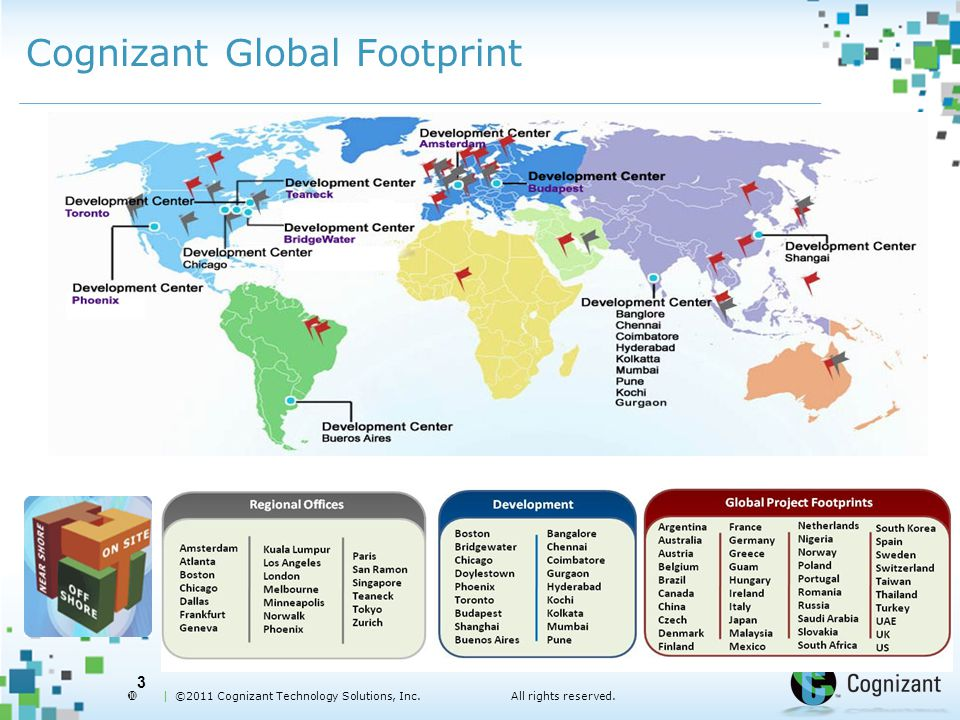  | ©2011 Cognizant Technology Solutions, Inc.All rights reserved. Cognizant Global Footprint 3